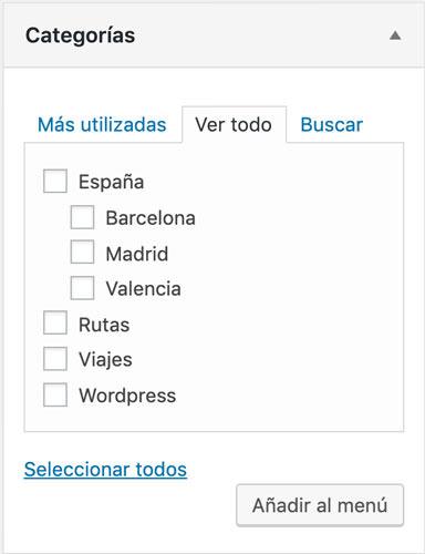 añadir categorías y subcategorías a WordPress