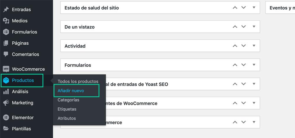 añadir producto nuevo en WordPress