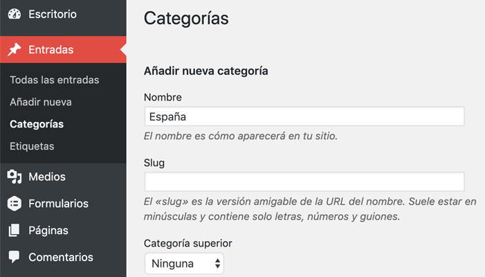 crear una categoría en WordPress