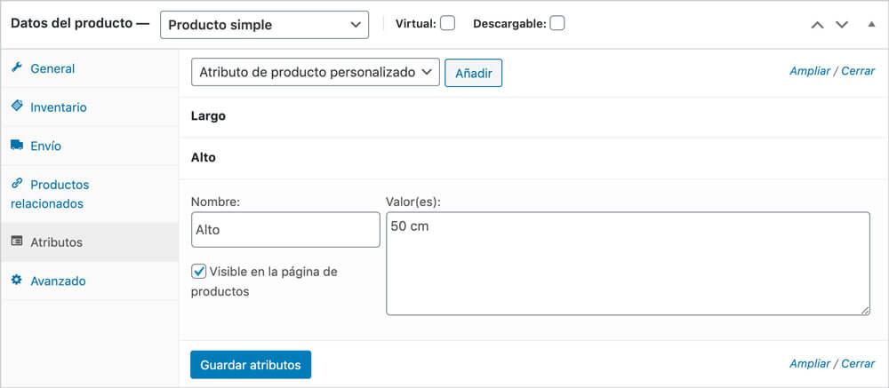 Crear producto en WordPress