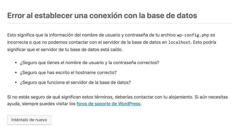 Error al establecer una conexión con la base de datos
