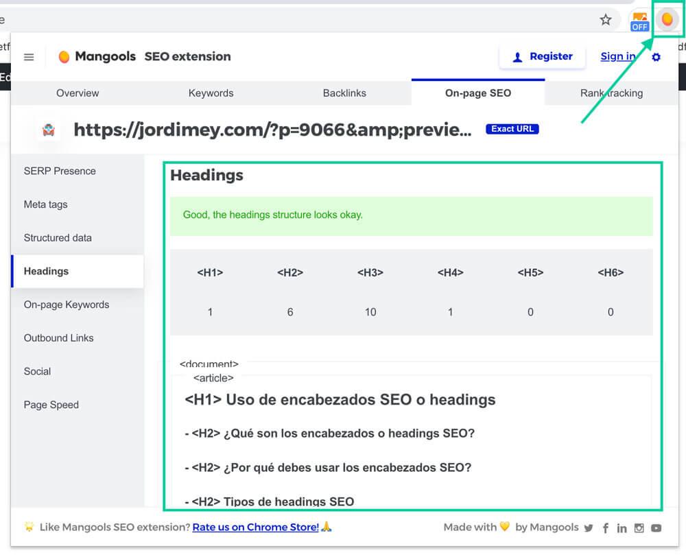Extensión headings SEO para Chrome