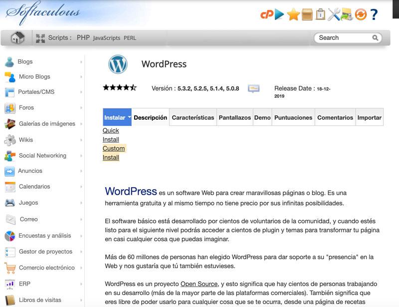 instalador automático de WordPress