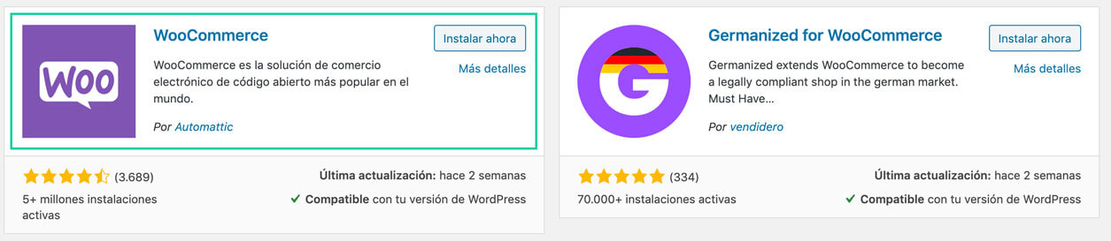 Instalar woocommerce desde el repositorio de Wordpress