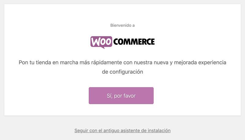 pantalla inicial para configurar Woocommerce
