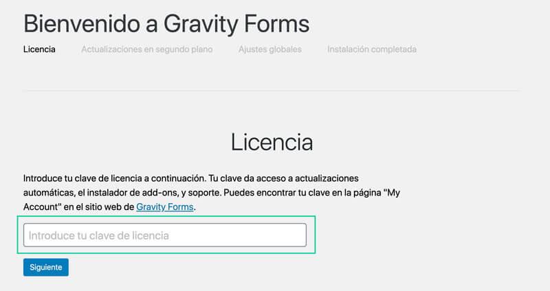 pantalla inicial de Gravity Forms