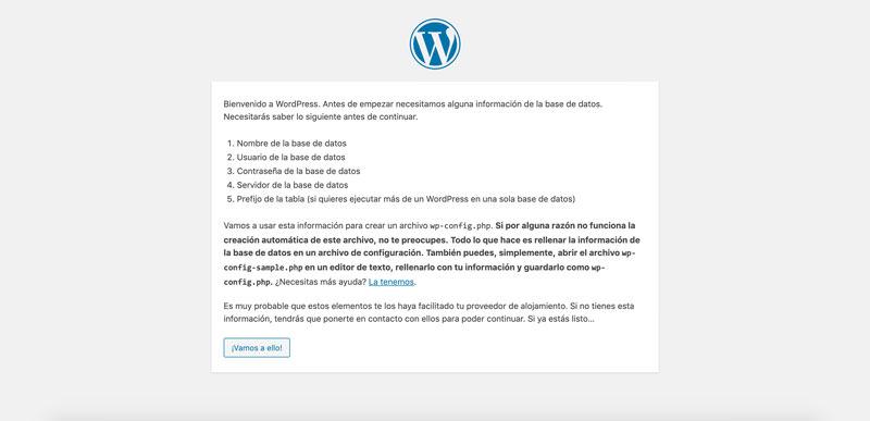 pantalla inicial para instalar wordpress