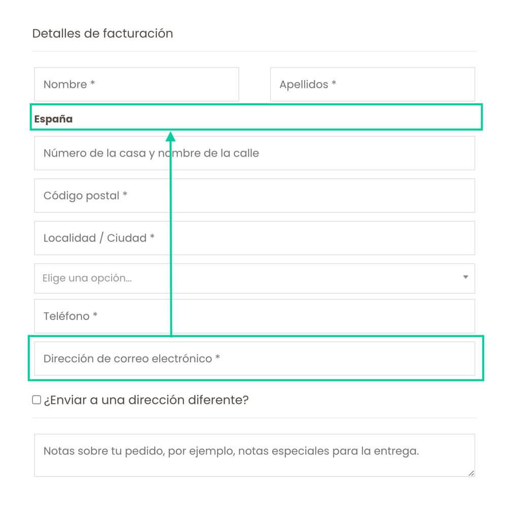 subir campo de email en la página de pago de Woocommerce